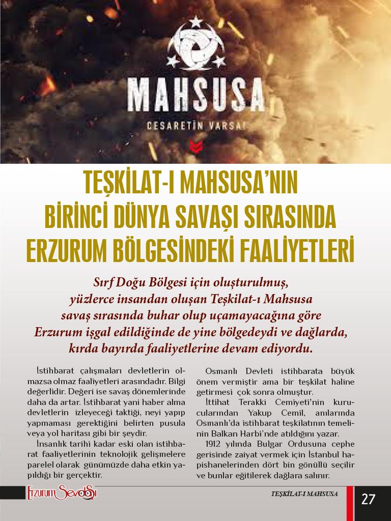 TEŞKİLAT-I MAHSUSA'NIN BİRİNCİ DÜNYA SAVAŞI SIRASINDA ERZURUM BÖLGESİNDEKİ FAALİYETLERİ