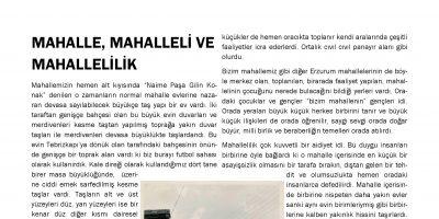 MAHALLE, MAHALLELİ VE MAHALLELİLİK